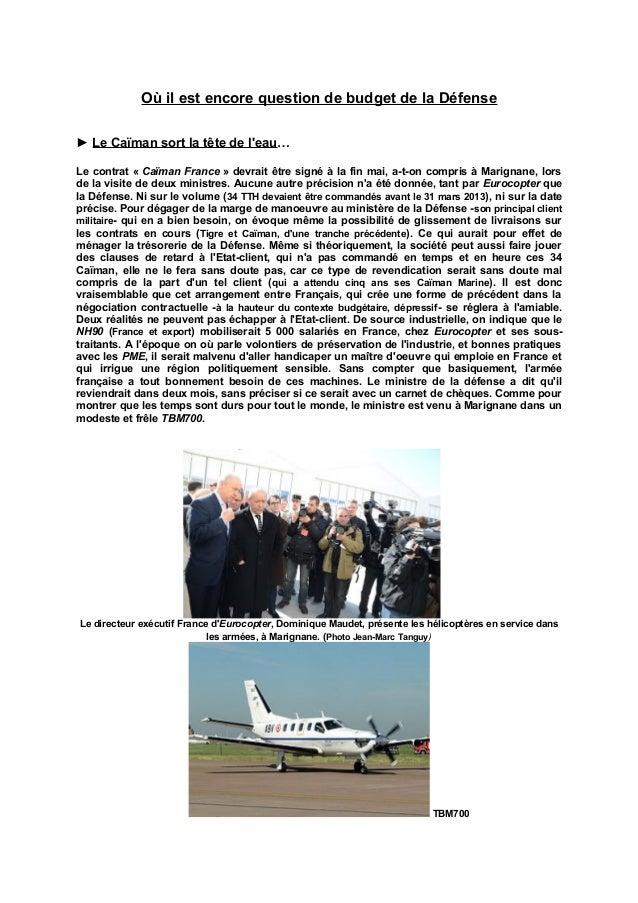 Où il est encore question de budget de la Défense► Le Caïman sort la tête de leau…Le contrat « Caïman France » devrait êtr...