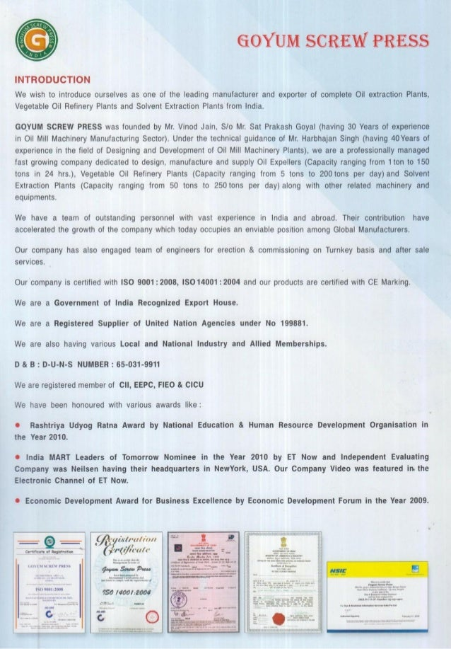 Goyum Screw Press, Ludhiana, Oil Expeller Machine Slide 2