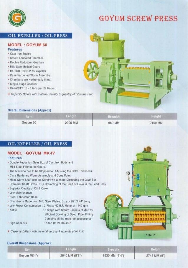 Goyum Screw Press, Ludhiana, Oil Expeller Machine Slide 3