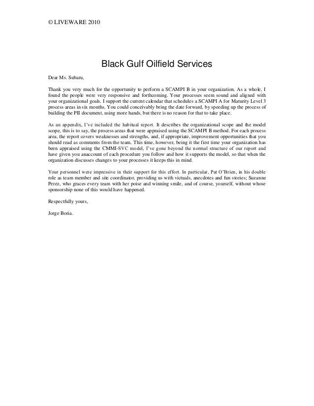 © LIVEWARE 2010 Black Gulf Oilfield Services Dear Ms. Subaru, Thank you very much for the opportunity to perform a SCAMPI ...