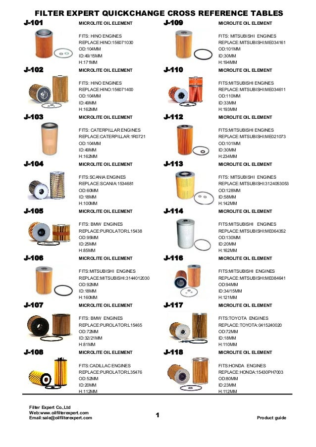Oil Filter Catalog From Filter Expert China Filter