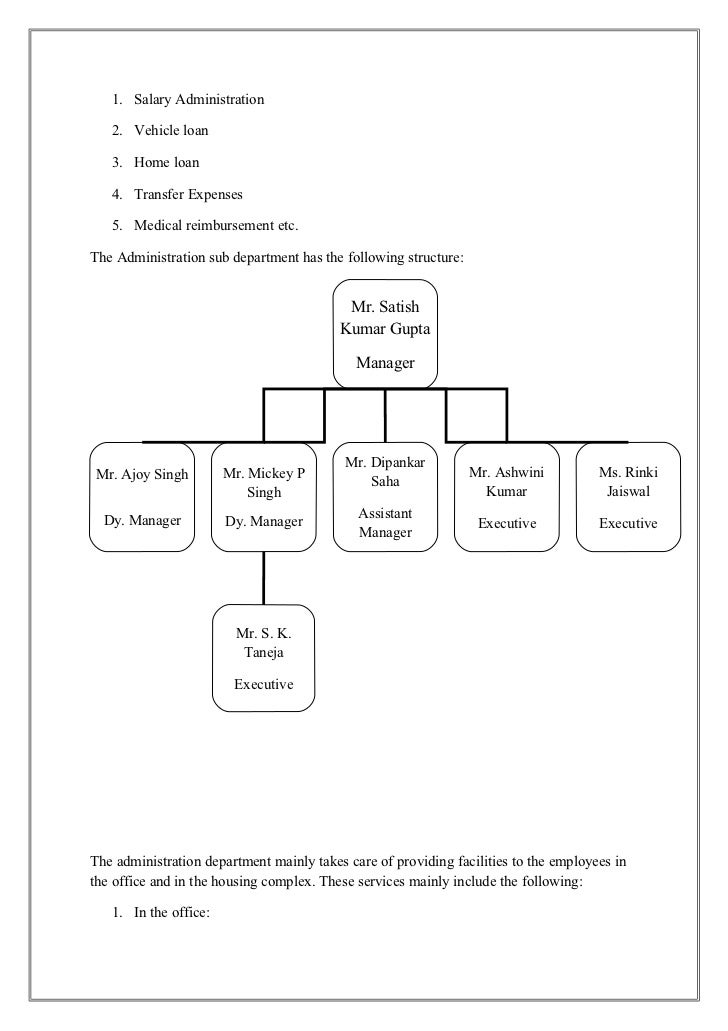 1. Salary Administration   2. Vehicle loan   3. Home loan   4. Transfer Expenses   5. Medical reimbursement etc.The Admini...