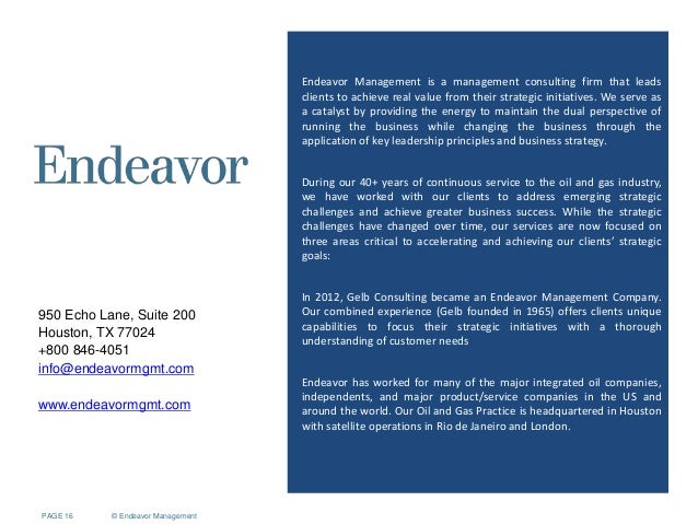 Oil and gas brand management - Endeavor