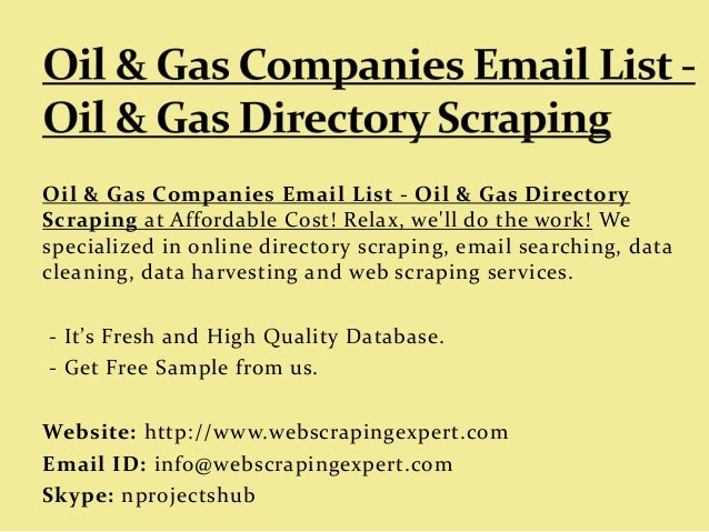 Oil & Gas Companies Email List - Oil & Gas Directory Scraping