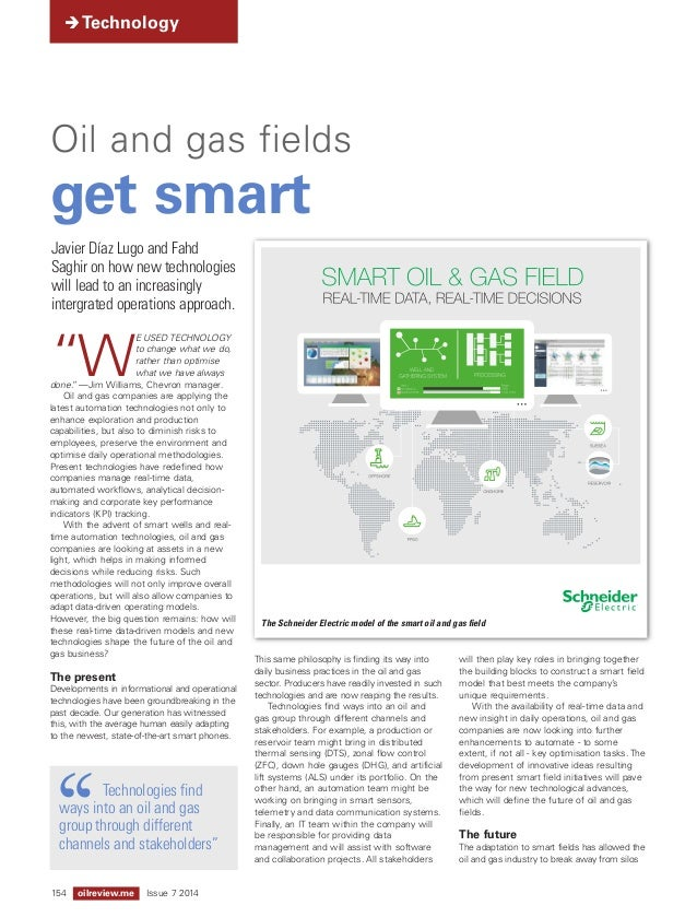 """Technology  Oil and gas fields  get smart  """"WE USED TECHNOLOGY  to change what we do,  rather than op timise  what we hav..."""