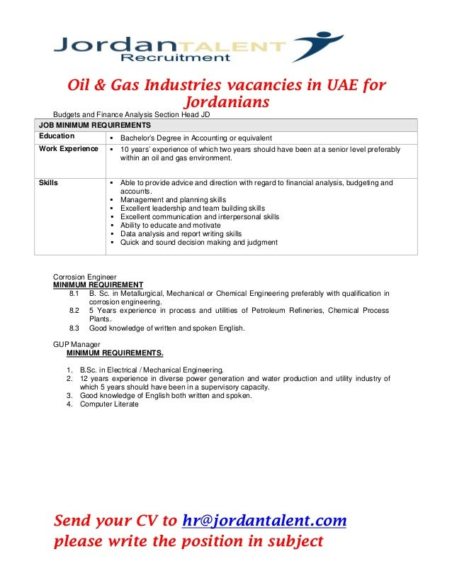 oil gas industries vacancies in uae pdf  oil gas industries vacancies in uae for ians budgets and finance analysis section head jd