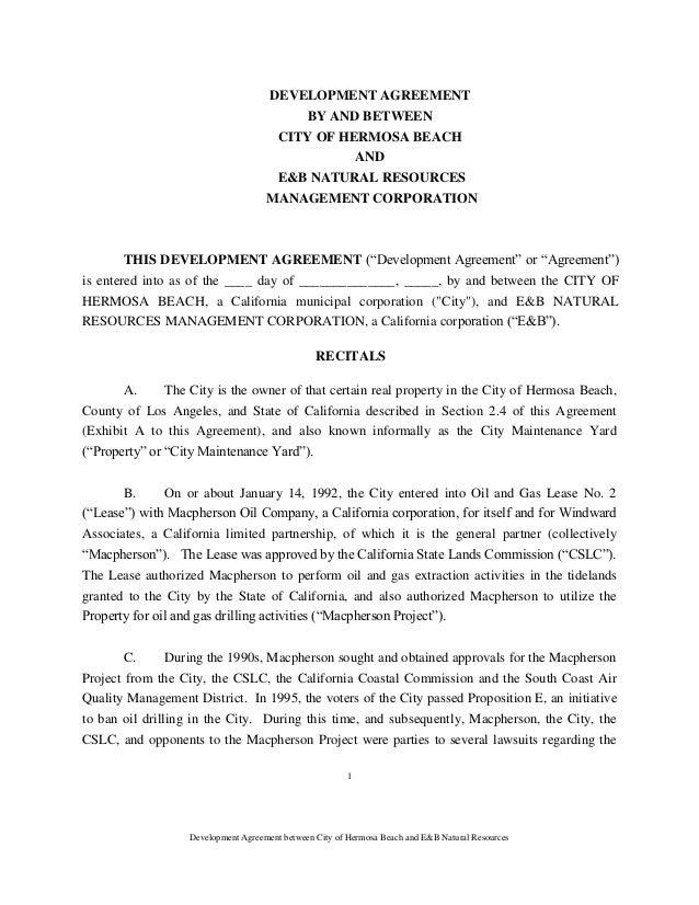 Hermosa Beach Oil Drilling Development Agreement