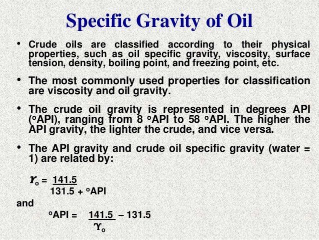 Crude Oil Crude Oil Specific Gravity