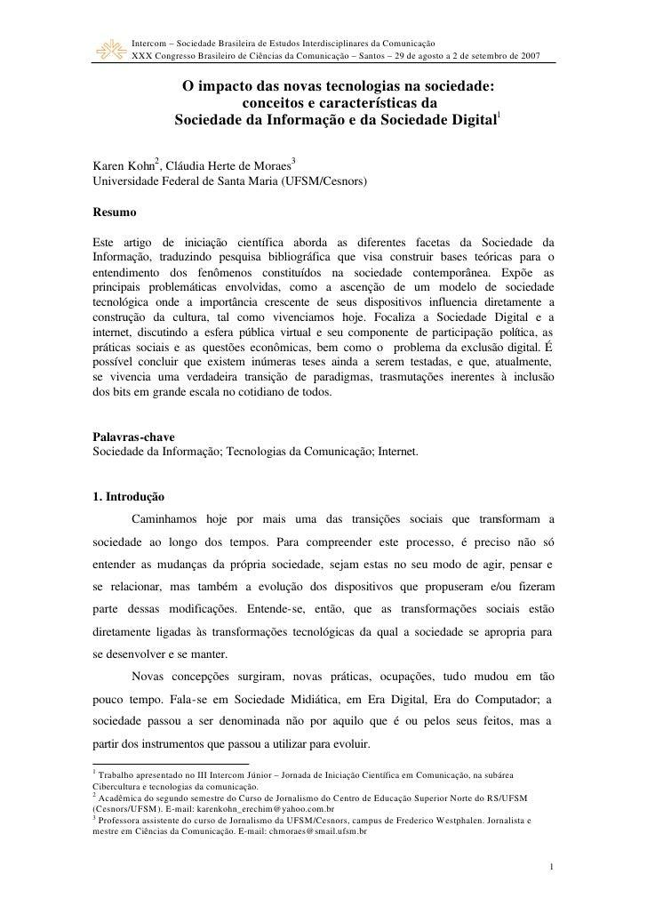 Intercom – Sociedade Brasileira de Estudos Interdisciplinares da Comunicação         XXX Congresso Brasileiro de Ciências ...