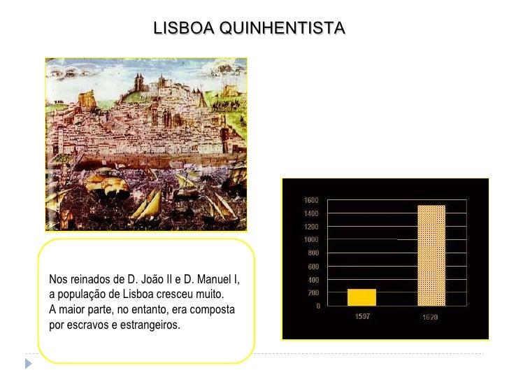 LISBOA QUINHENTISTA Nos reinados de D. João II e D. Manuel I, a população de Lisboa cresceu muito. A maior parte, no entan...