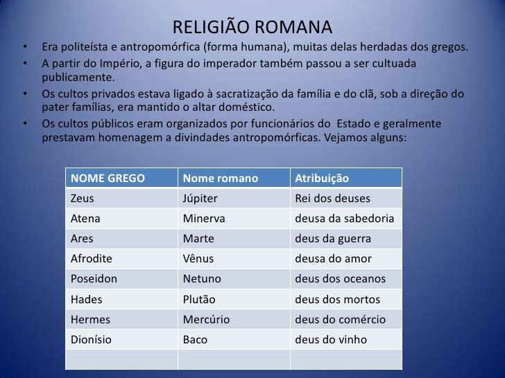 RELIGIÃO ROMANA•   Era politeísta e antropomórfica (forma humana), muitas delas herdadas dos gregos.•   A partir do Impéri...