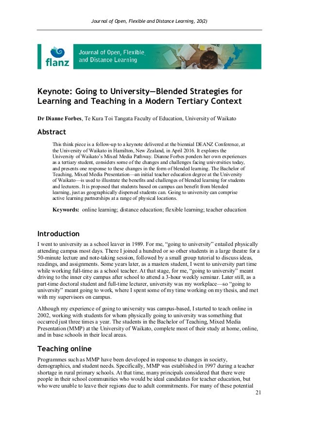 Journal of Open, Flexible and Distance Learning, 20(2) 21 Keynote: Going to University—Blended Strategies for Learning and...