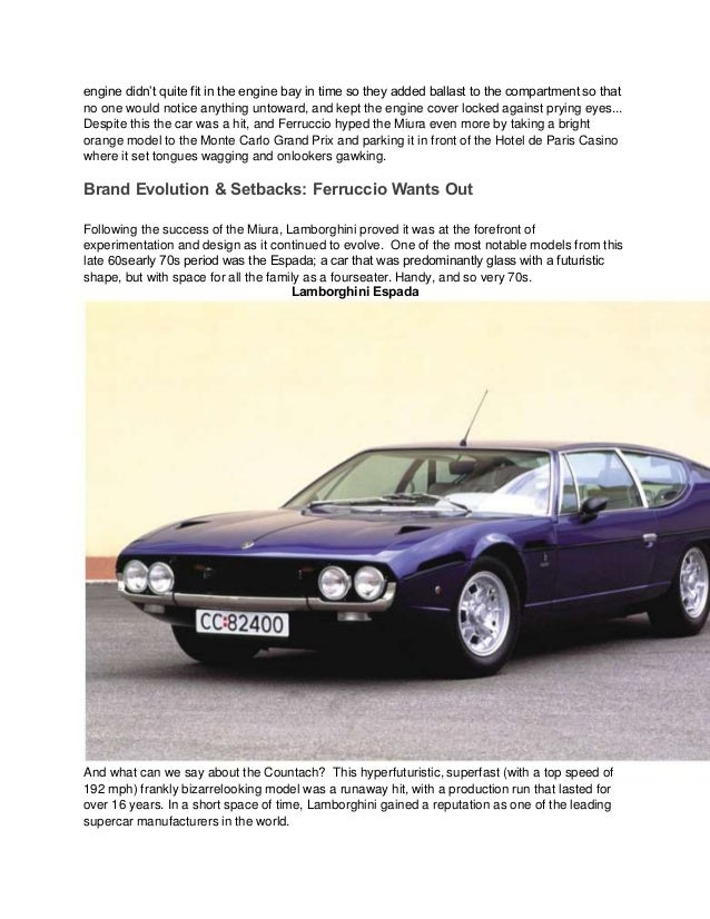 a history of lamborghini Unless you just completely don't care about automotive history, you probably  know a little bit about lamborghini's rise as a supercar.