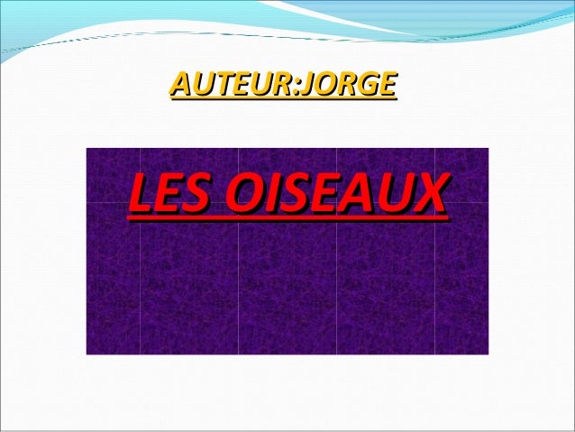 AUTEUR:JORGELES OISEAUX