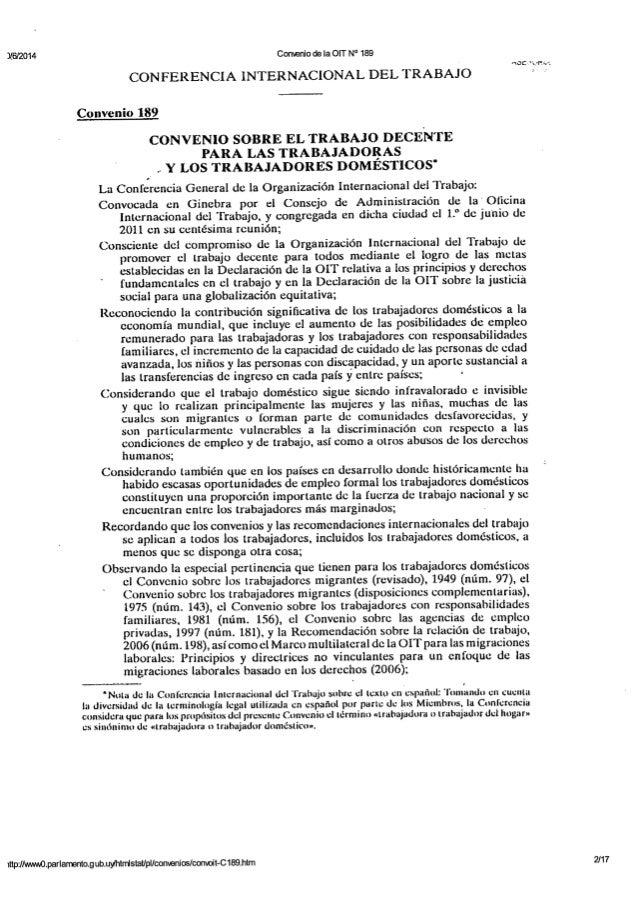 OIT - Convenio N° 189 - Convenio sobre el trabajo decente para las trabajadoras y los trabajadores domésticos - 2011