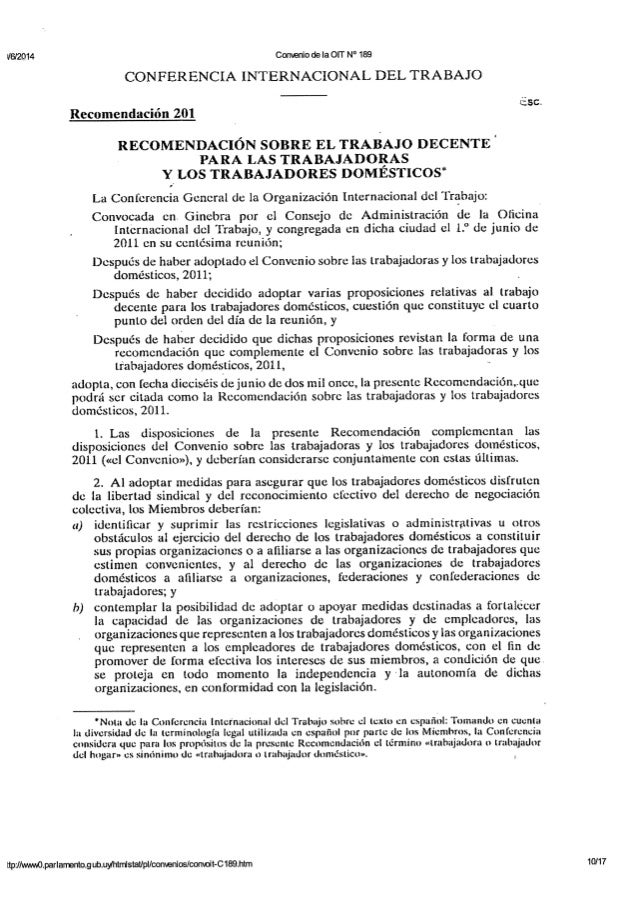 OIT - Recomendación N° 201 - Recomendación sobre las trabajadoras y los trabajadores domésticos - 2011