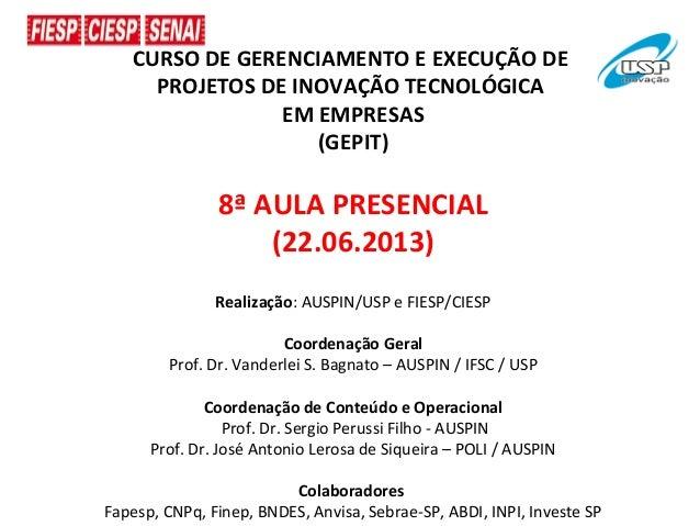 CURSO DE GERENCIAMENTO E EXECUÇÃO DEPROJETOS DE INOVAÇÃO TECNOLÓGICAEM EMPRESAS(GEPIT)8ª AULA PRESENCIAL(22.06.2013)Realiz...