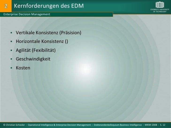 Kernforderungen des EDM Enterprise Decision Management            Vertikale Konsistenz (Präsision)         Horizontale K...