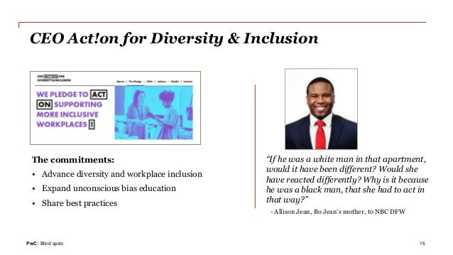 PwC | Blind spots The commitments: • Advance diversity and workplace inclusion • Expand unconscious bias education • Share...