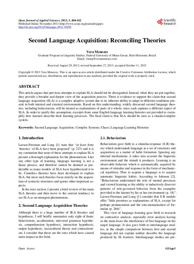 a reflection of larsen freemans a complexity theory approach to second language development acquisit Second language acquisition research and applied of research on the processes and sequences of second language (l2) development larsen-freeman & long.