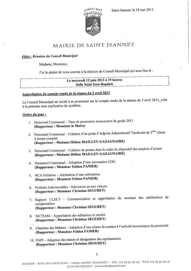 Ordre du jour du conseil municipal du 12 juin 2013