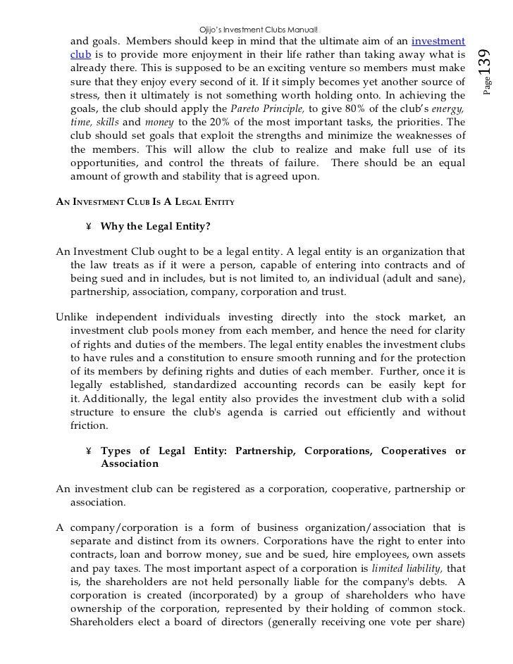 ojijo s investments club manual
