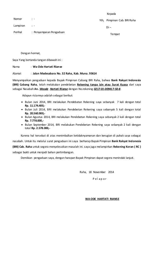 Contoh Surat Pengaduan Ojk