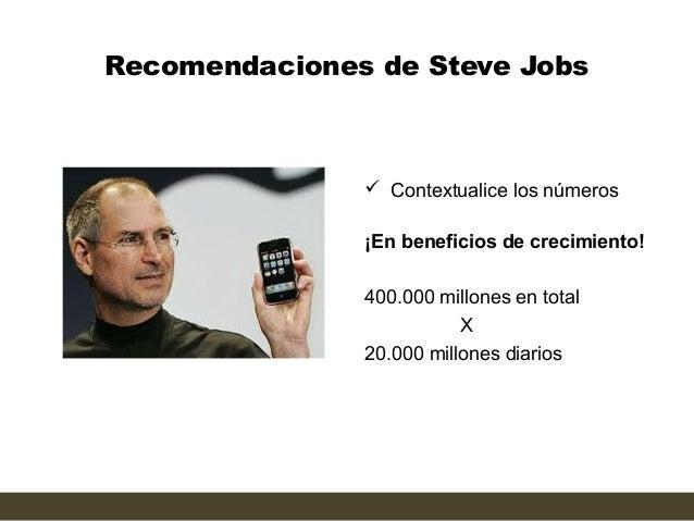 Recomendaciones de Steve Jobs                Contextualice los números               ¡En beneficios de crecimiento!      ...