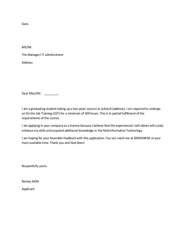 Sample Application Letter Format For Ojt - Application letter for