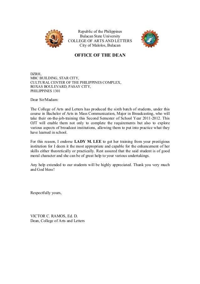 ojt-endort-letter-5-638 Ojt Application Letter Sample For Airline on sample recommendation, intent for, trinidad cover, request school for,