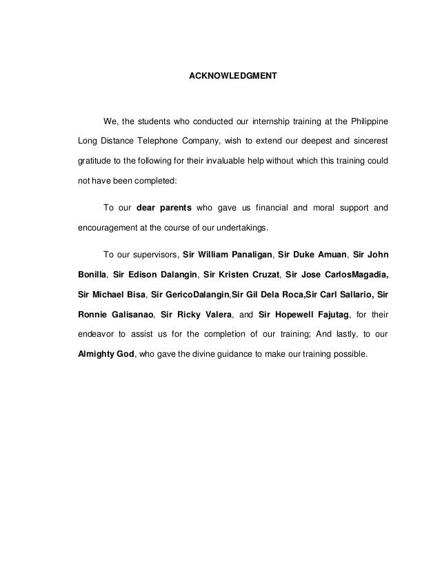 acknowledgement thesis ojt