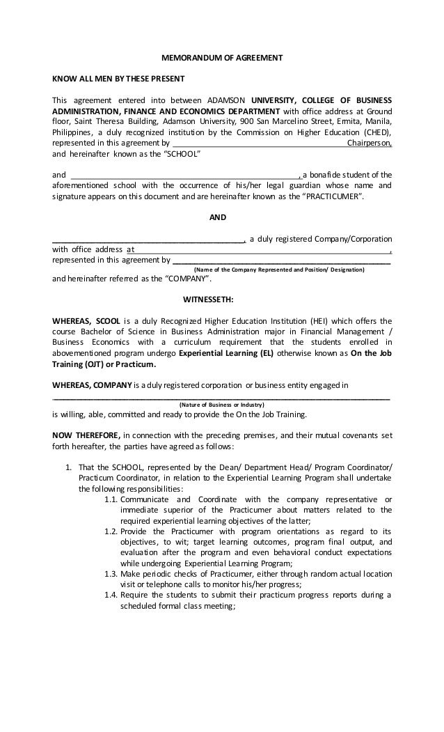 MEMORANDUM OF AGREEMENT KNOW ALL MEN BY THESE PRESENT This Agreement  Entered Into Between ADAMSON UNIVERSITY ...  On The Job Training Form