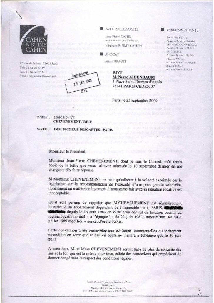 Correspondance entre la régie immobilière de la ville de Paris et Jean-Pierre Chevènement