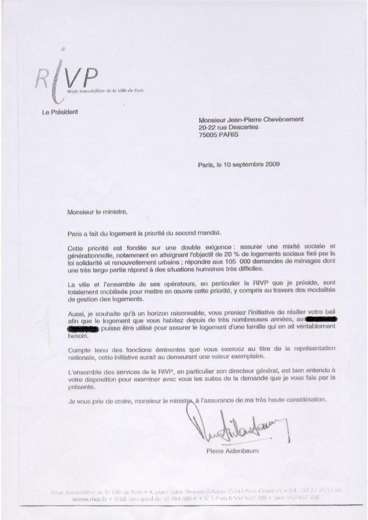 Correspondance entre la régie immobilière de Paris et Jean-Pierre Chevènement