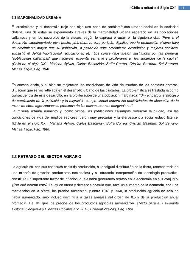 """""""Chile a mitad del Siglo XX""""        113.3 MARGINALIDAD URBANAEl crecimiento y el desarrollo trajo con sigo una serie de pr..."""