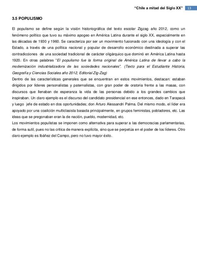 """""""Chile a mitad del Siglo XX""""        133.5 POPULISMOEl populismo se define según la visión historiográfica del texto escola..."""