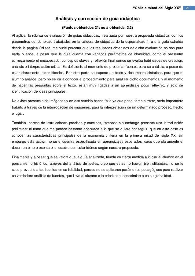 """""""Chile a mitad del Siglo XX""""       29                            Análisis y corrección de guía didáctica                  ..."""
