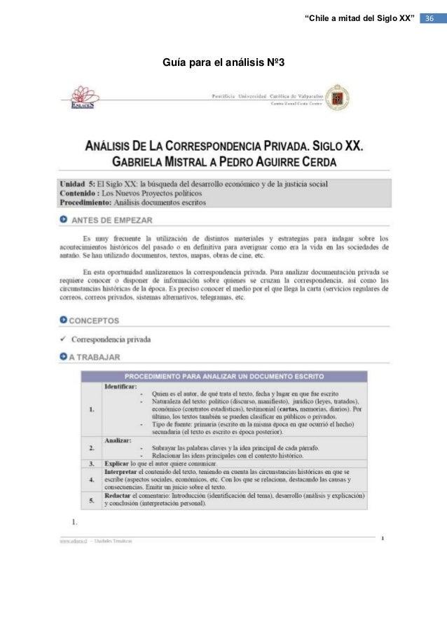 """""""Chile a mitad del Siglo XX""""   36Guía para el análisis Nº3"""