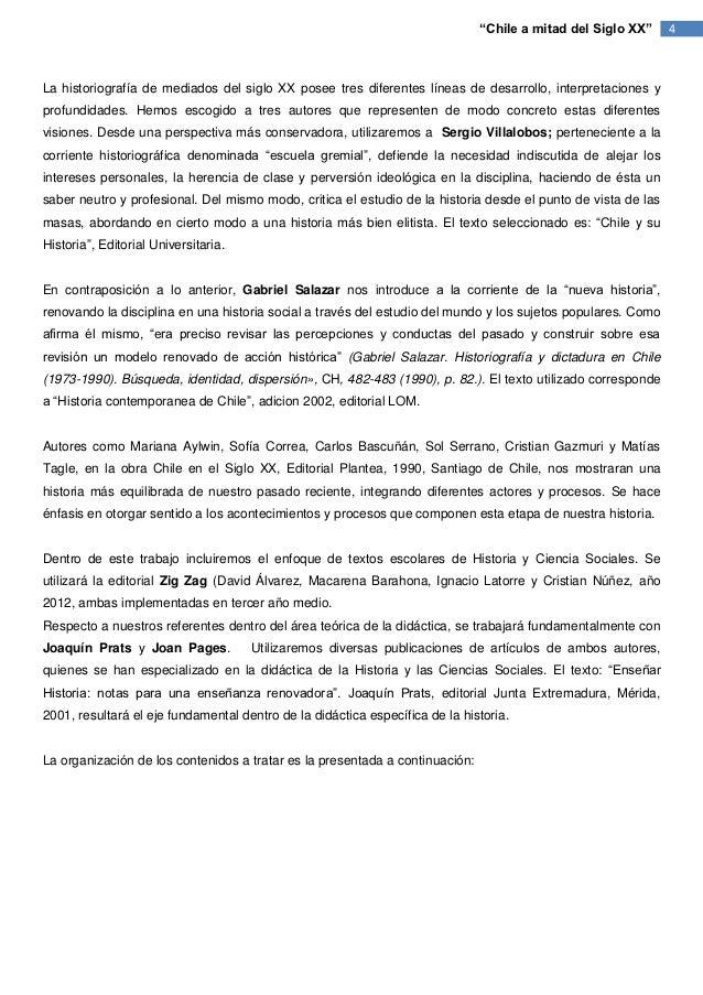 """""""Chile a mitad del Siglo XX""""     4La historiografía de mediados del siglo XX posee tres diferentes líneas de desarrollo, i..."""