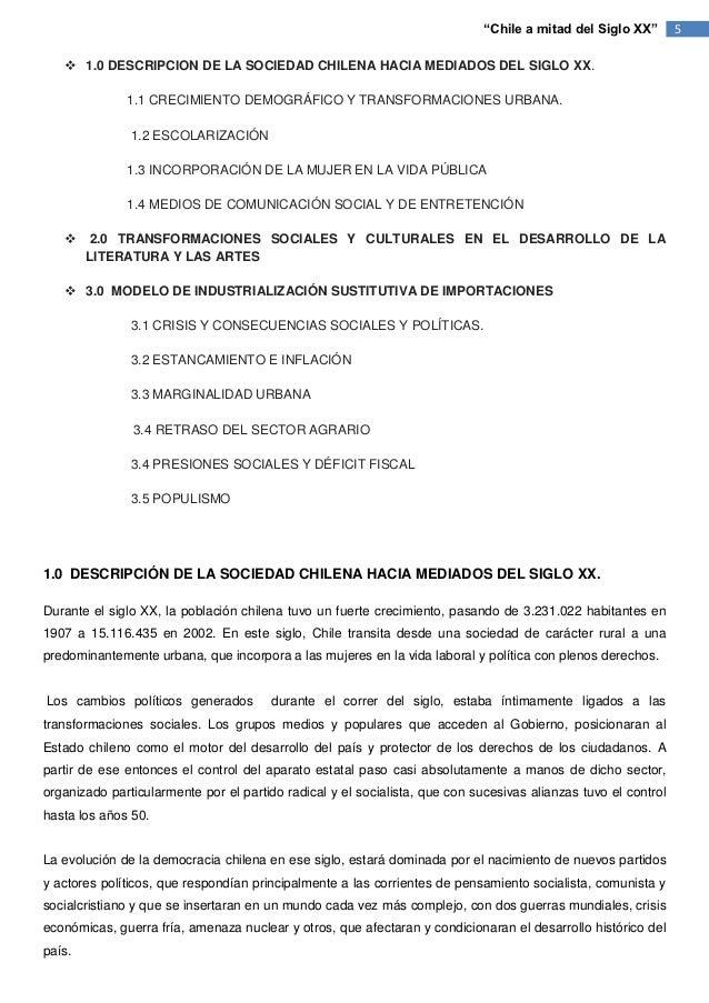 """""""Chile a mitad del Siglo XX""""       5    1.0 DESCRIPCION DE LA SOCIEDAD CHILENA HACIA MEDIADOS DEL SIGLO XX.              ..."""