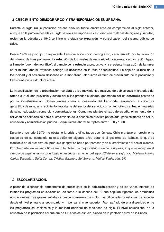 """""""Chile a mitad del Siglo XX""""        61.1 CRECIMIENTO DEMOGRÁFICO Y TRANSFORMACIONES URBANA.Durante el siglo XX la població..."""