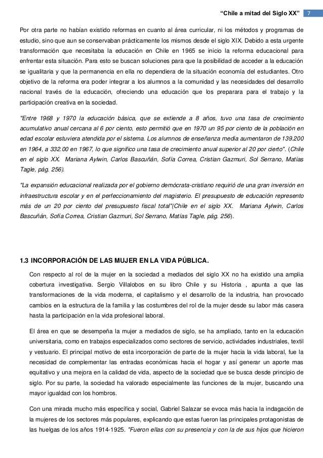 """""""Chile a mitad del Siglo XX""""        7Por otra parte no habían existido reformas en cuanto al área curricular, ni los métod..."""