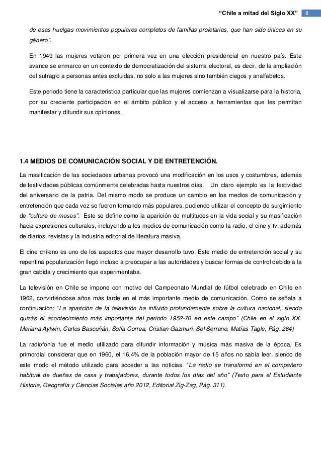 """""""Chile a mitad del Siglo XX""""        8    de esas huelgas movimientos populares completos de familias proletarias, que han ..."""