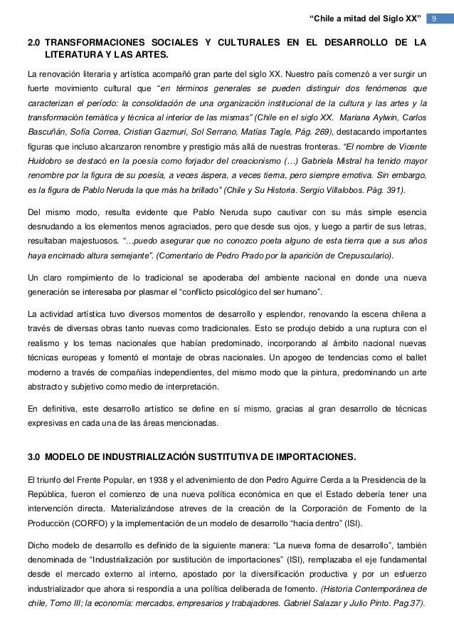 """""""Chile a mitad del Siglo XX""""     92.0 TRANSFORMACIONES SOCIALES Y CULTURALES EN EL DESARROLLO DE LA    LITERATURA Y LAS AR..."""