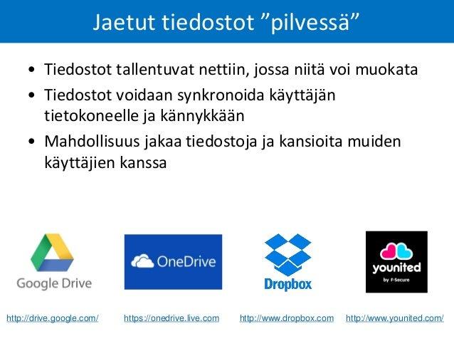 Google Drive – jaetut dokumentit Dokumentteja testaamista varten: https://drive.google.com/folderview?id=0B27vs0Ooc71mMUlP...