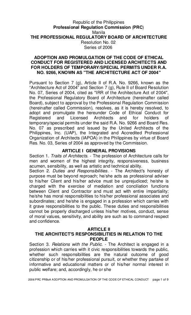 2006 PRC PRBoA ADOPTION AND PROMULGATION OF THE CODE OF ETHICAL CONDUCT page 1 of 9 Republic of the Philippines Profession...
