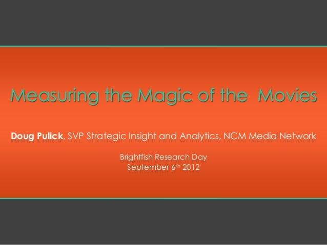 Measuring the Magic of the Movies Doug Pulick, SVP Strategic Insight and Analytics, NCM Media Network Brightfish Research ...