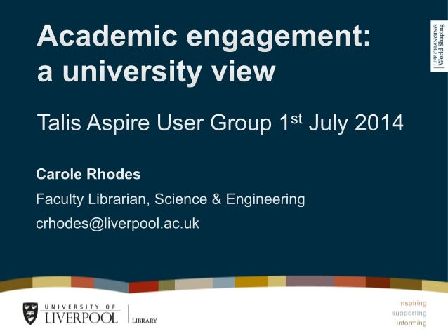 University of Liverpool — Reading Lists @ Liverpool Iaunched in Sept 2013 — 1,700 lists at the outset — Mostly impor...