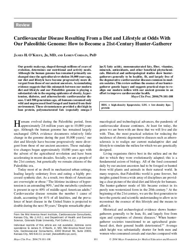 Mayo Clin Proc, January 2004, Vol 79  Becoming a 21st-Century Hunter-Gatherer  101  Review  Cardiovascular Disease Resulti...
