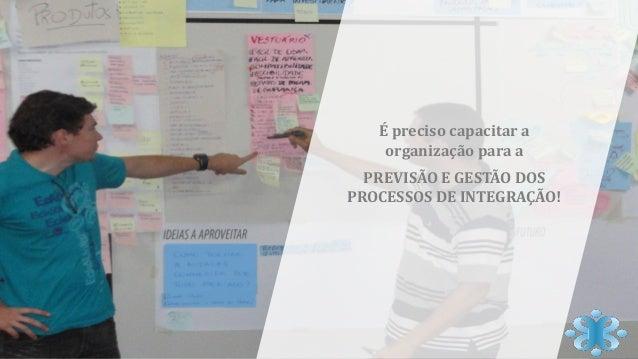 É preciso capacitar a organização para a PREVISÃO E GESTÃO DOS PROCESSOS DE INTEGRAÇÃO!